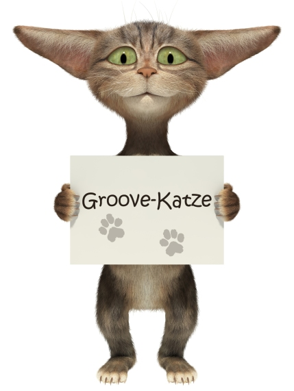 3D smiling fluffy kitten holding a blank banner. Isolated image